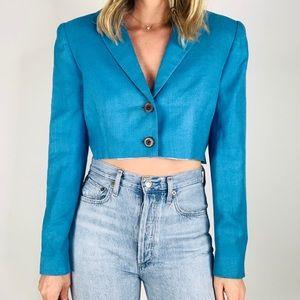 Vintage Carlisle turquoise boxy cropped blazer